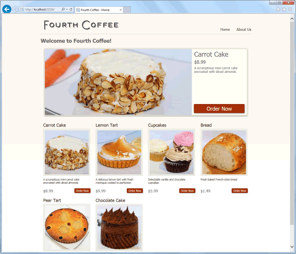 ASP.NET Web Pages Bakery Template