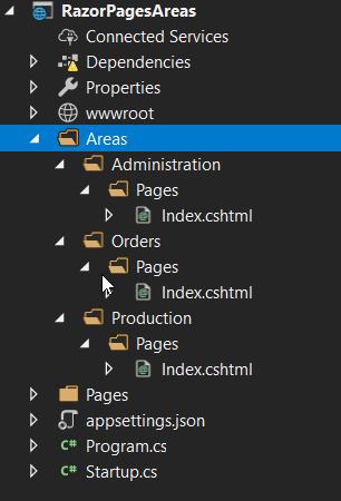Areas in Razor Pages | Learn Razor Pages