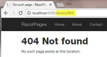 Configuring a custom error page in a Razor Pages web site